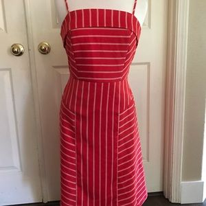 Banana republic red dress with stripes size 4 .